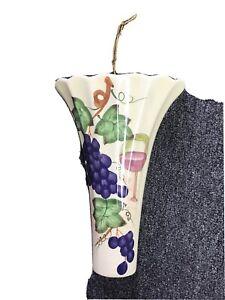 Hanging Planter Ceramic Art Vase Wall Mounted Flower Pot Grapes Wine