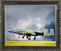 Military A-10 Thunderbolt II Jet Airplane Aviation Wall Art Decor Framed Picture