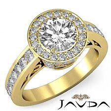 Round Diamond Engagement Halo Pave Filigree Ring GIA F VS2 18k Yellow Gold 2.3ct