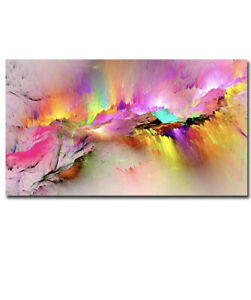 NEW Abstract Colorful Aurora Canvas Wall Art Pink Background Artwork for Modern
