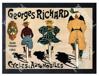 Historic Cycles and cars Georges Richard, 1896 Advertising Postcard