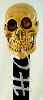 Unique Antique Skull Head Solid Brass Walking Stick Victorian Wooden Cane 36""