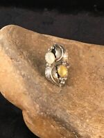 Native American Navajo Sterling Silver Moonstone Yellow MOP Ring Sz 7.25 8710