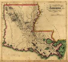 """MAP State of LOUISIANA Vintage circa 1814 24"""" x 26"""" New Orleans Baton Rouge"""