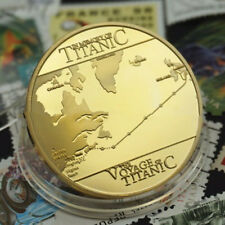 """1pc RMS Titanic """"In memory of Titanic"""" Gold Plated Commemorative Coin Collector"""