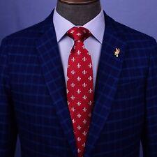 New Red Boss Italian Fleur-De-Lis Designer 8cm Necktie Florentine Accessory