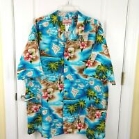 RJC Mens Blue Palm Tree Hibiscus Hawaii Short Sleeve Hawaiian Shirt Sz 3XL USA