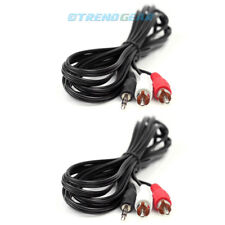 2X 10FT 3.5MM AUX RCA MALE PLUG AUDIO STEREO JACK BLACK CABLE IPHONE IPOD TOUCH