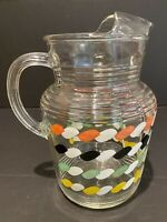 VINTAGE HTF CLEAR GLASS WATER ICE TEA PITCHER COLORED TWIST DESIGN RIBBED