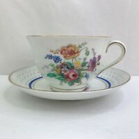 Colclough Bone China Tea Cup & Saucer Floral Polka Dot Made In England Gold Trim