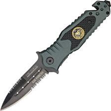 "Tac Force Rescue Linerlock A/O Knife TF-700AF 4 5/8"" closed. 3 1/4"" black coated"
