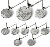 Engraved Necklace Pendant Personalized Name Gift Chain Stainless Women Men Tag