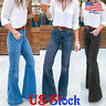 Womens Slim High Waist Jeans Flared Pants Wash Denim Bell Bottoms Trousers US