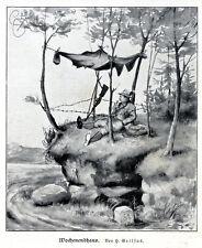 H.Geilfus Jägers Wochenendhaus Jagdliche Illustration Vignette c.1927