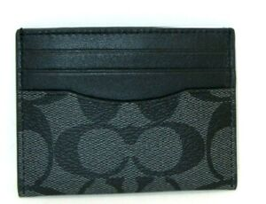 Coach F58110 ID Card Case Charcoal Signature Canvas And Black Leather NWT $78