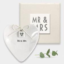 East of India Mr & Mrs Heart Shaped Wedding Ring Dish Trinket Holder Gift Boxed