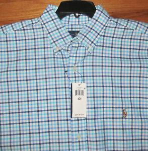 Ralph Lauren Mens LS White Navy Plaid Heavy Weight Cotton Shirt XLT, 4X NWT $110