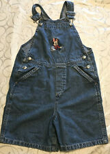 Girl's Disney Store Overall Shorts  Embroidered Minnie Mouse Books Size 6/6X