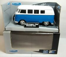 WELLY DIECAST - 1962 VOLKSWAGEN VW CLASSICAL BUS - BLUE & WHITE - 49720-CW