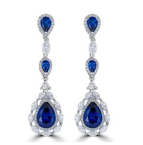 Pear Cut Ceylon Blue 12.30CT Sapphire & White CZ Drop-Dangle Engagement Earrings