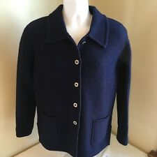Tally Ho Womens 100% Wool Metal Button Front Sweater Jacket Blue Small Free Ship
