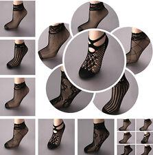 5Pairs Lady Lace Black Ruffle Hollow Fishnet Mesh Short Ankle Socks Stockings