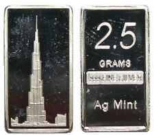 VERY RARE AGmint 2.5G .999 Fine Silver Burj Khalifa Dubai Skyscraper Bullion Bar