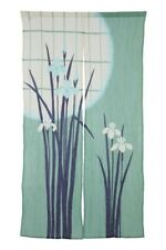 Noren Door Curtain Chijimi Wrinkle effect Green Iris flower Made in Japan