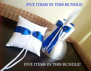 BUNDLE PETALS, TIARA, BRIDE BUTTON & WHITE/BLUE RING PILLOW & FLOWER BASKET NWOT