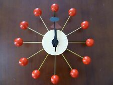 Retro Red Wood Ball Wall Clock Classic Modern Design George Nelson Replica