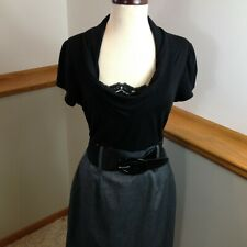 MAURICES Black/Gray Cap Sleeve Cowl Neck Belted A-Line Dress Women's Size 13/14
