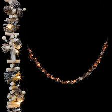 20er LED Lichterkette mit Zapfen, Sternen aus Holz - Herbst Weihnachten Batterie