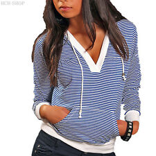 Caliente Jersey Capucha Manga Larga Rayas Camisa Talla 34/36 Blanco Azul