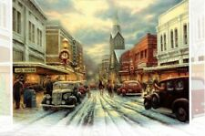 16 Boxed Embossed Christmas Cards Small Town Church Downtown Theater Antique Car