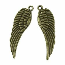 20 Antique Bronze Angel Wing Pendant Charms 30mm x 9mm Steampunk