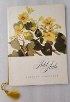 1950s Venezuela Hotel Avila Restaurant Menu, Cover Yellow Algodoncillo Flowers