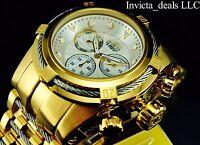 Invicta Men's 52MM Bolt ZEUS Swiss Chronograph Silver Dial 18K Gold IP SS Watch