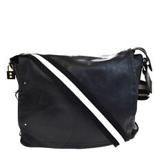 Authentic BALLY Logos Men's Cross Body Shoulder Bag Genuine Leather Black 60V252