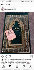 Prayer Mat Mussallah Green with any name GIFTSET inc WUDHU TOWEL