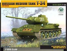 Academy 1/48 Russian Medium Tank T-34 Motorized Tank Plastic Model Kit 13306