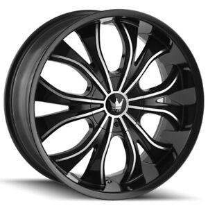 "4-Mazzi 342 Hustler 24x9.5 5x5""/5x5.5"" +18mm Black/Machined Wheels Rims 24"" Inch"