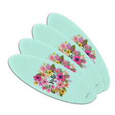 Hello with Pretty Flowers Double-Sided Oval Nail File Emery Board Set 4 Pack