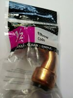 "Apollo 1/2"" x 1/2"" Copper Push Fit Elbow For Copper, PEX and CPVC"