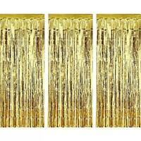 Foil Gold Metallic Fringe Tinsel Curtain Photo Backdrop Door Party Decorations