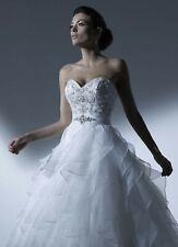 NWT Size 14 House of Wu Jacquelin 19921 ruffled WHITE bridal gown wedding dress