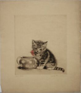 META PLUCKEBAUM-German Realist-Three Hand Signed LIM.ED Etchings-Kittens