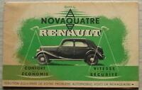 RENAULT NOVAQUATRE Car Sales Brochure Circa 1938 FRENCH TEXT