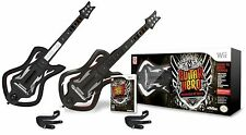 2x Wii-U/Wii WARRIORS OF ROCK Guitar Hero Controllers + Game Bundle Set nintendo
