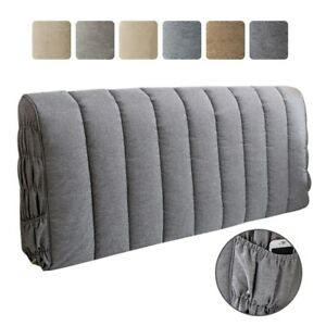 Headboard Slipcover Stretchy Bed Head Cover Bedside Protector Soft Linen Solid