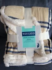 "Wayland Square Plush & Sherpa Throw Blanket 50"" X 60"" White, Blue, Brown"